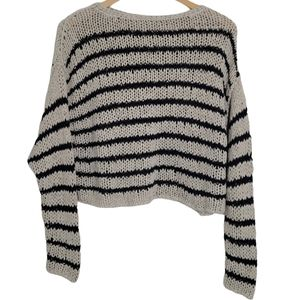 FREE PEOPLE Sweater Ivory Black Knit Pull Over